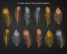 Load image into Gallery viewer, Foil and Glitter Feathers Clipart