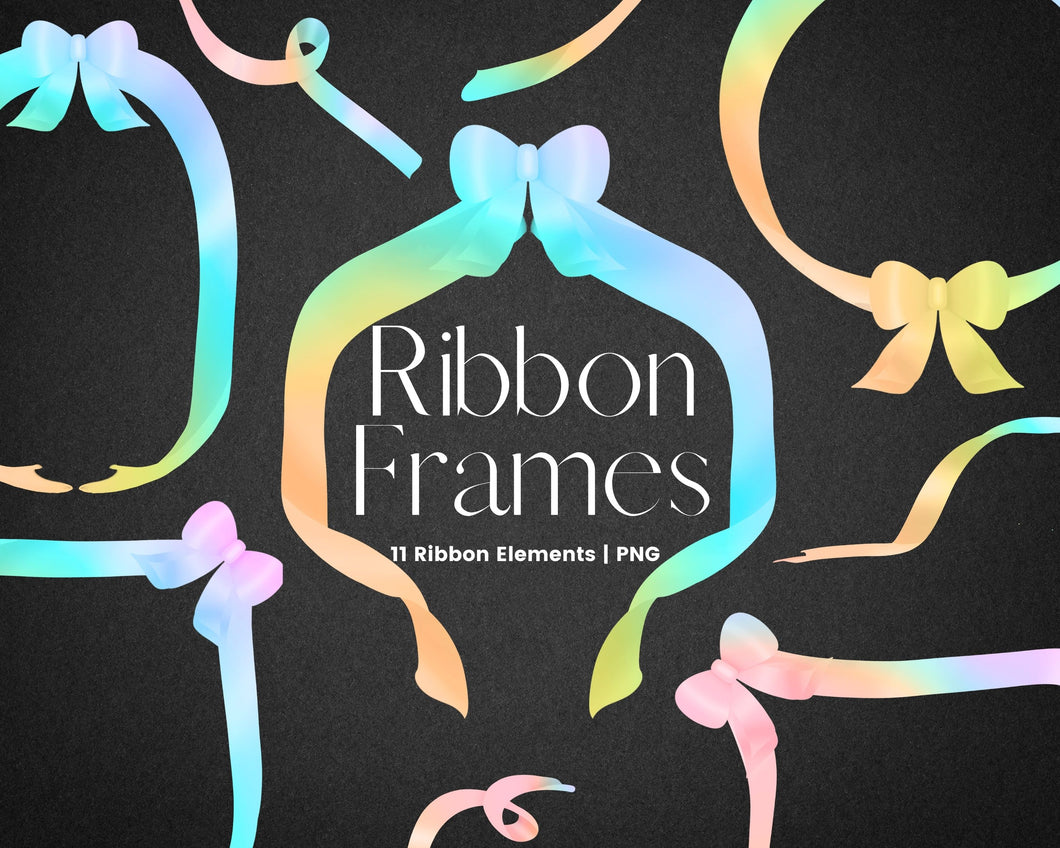 Rainbow Ribbon Frame Clipart