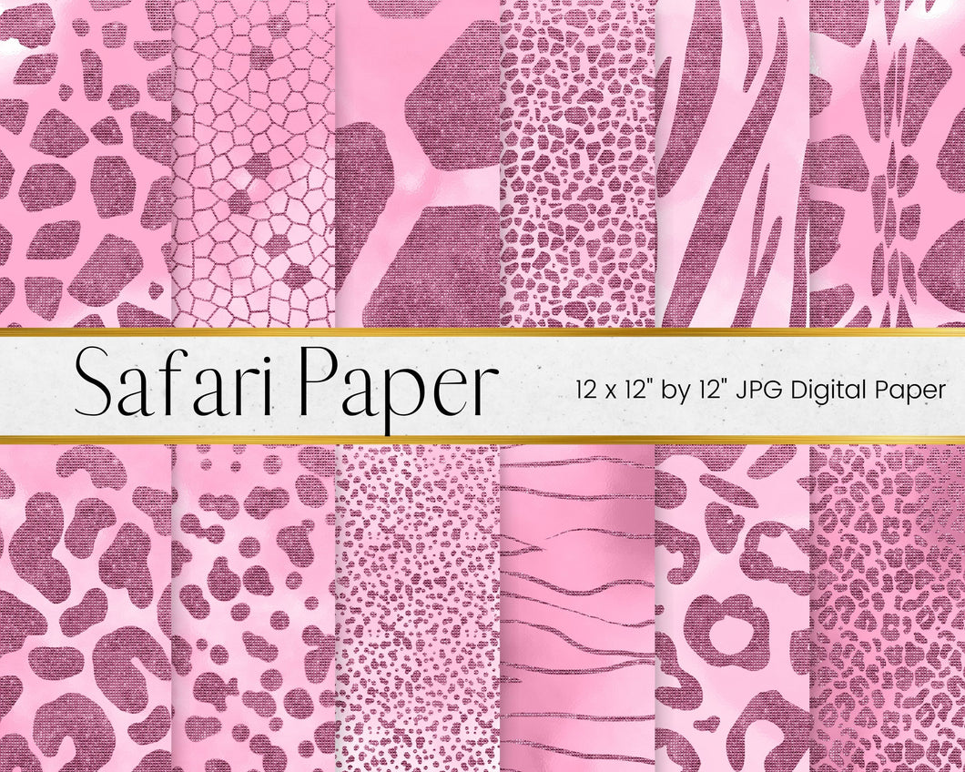 Pink Safari Animal Print Digital Paper