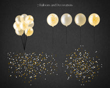 Load image into Gallery viewer, Gold Confetti Balloon Garland Clipart