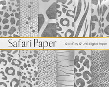 Load image into Gallery viewer, Silver Safari Animal Print Digital Paper