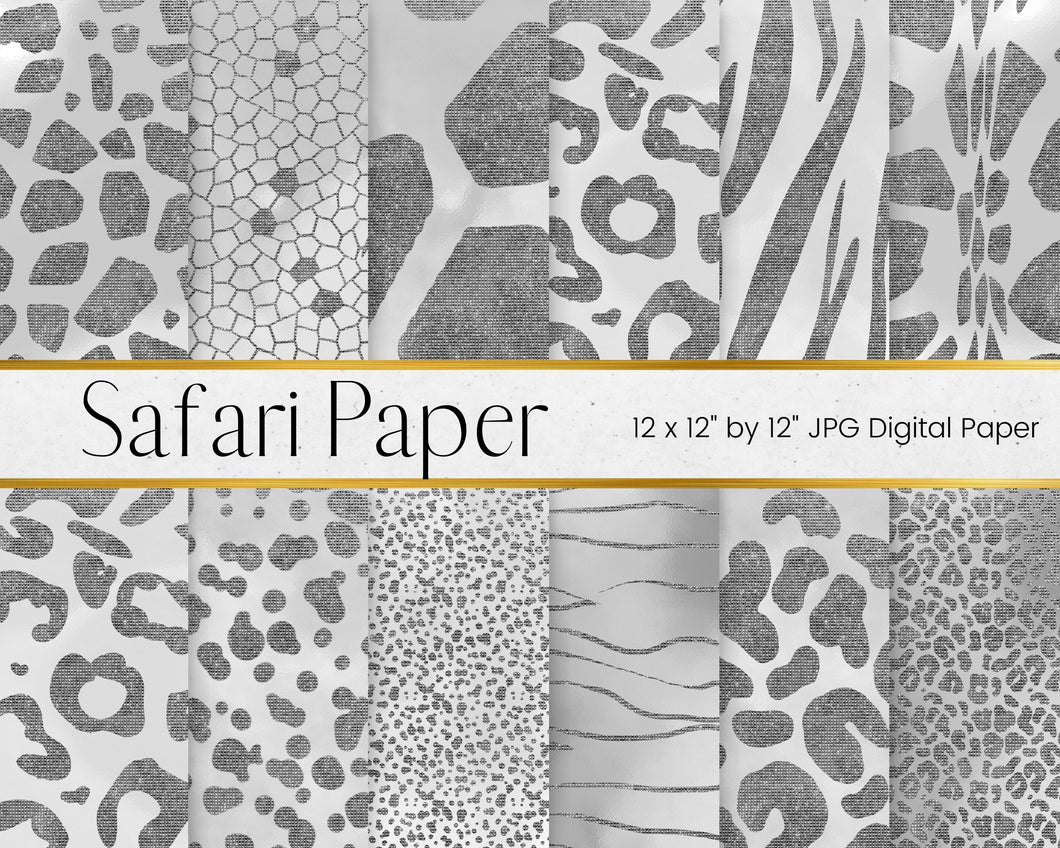 Silver Safari Animal Print Digital Paper