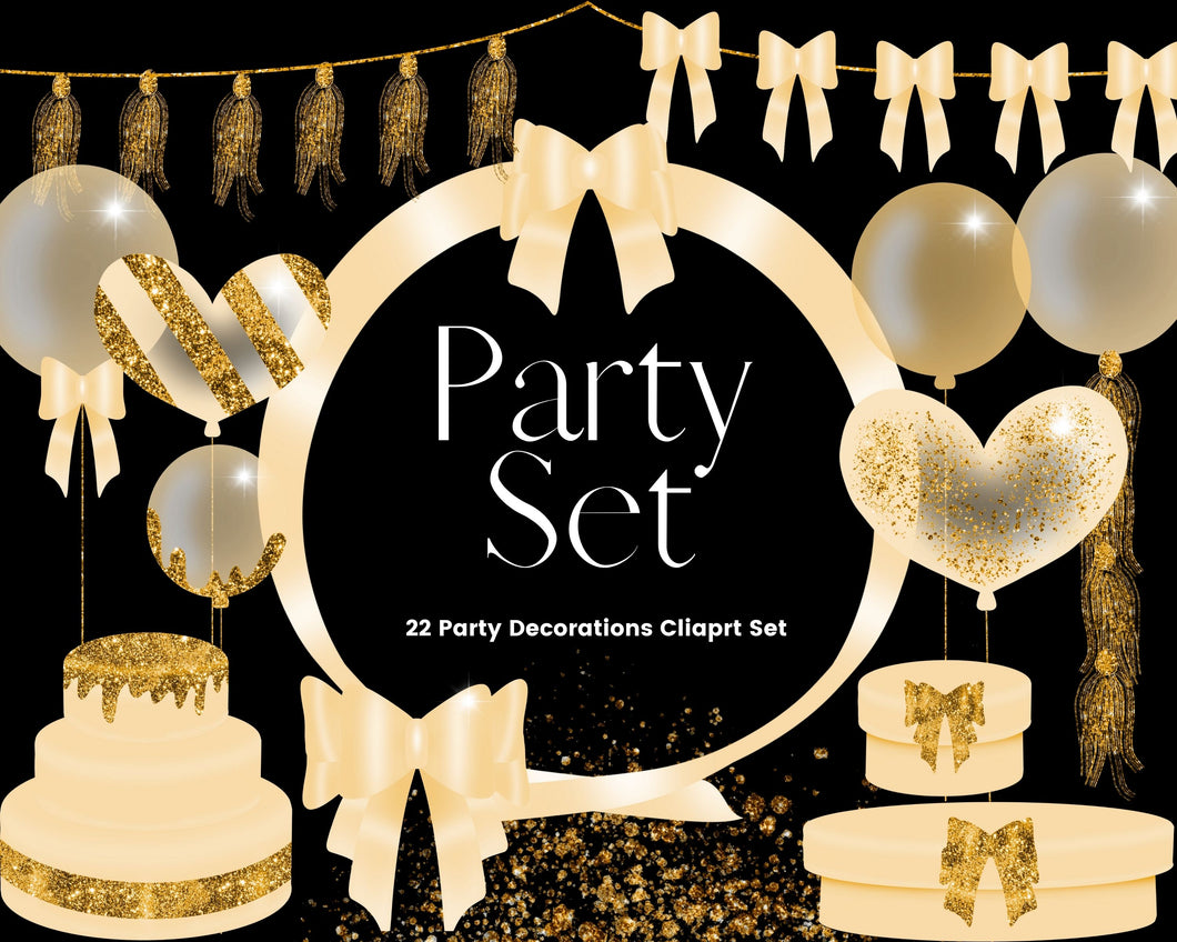 Gold Glitter Party Clipart Set