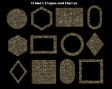 Load image into Gallery viewer, Gold Mesh Shapes Clipart