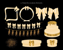 Load image into Gallery viewer, Gold Glitter Party Clipart Set