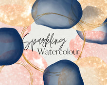 Load image into Gallery viewer, Sparkling Watercolour Brushstroke and Gold Glitter Rings