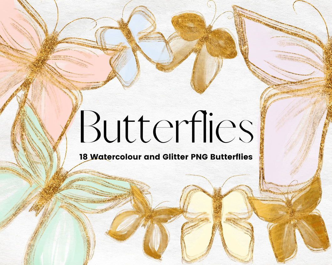 Gold Glitter and Watercolour Butterflies