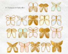 Load image into Gallery viewer, Gold Glitter and Watercolour Butterflies