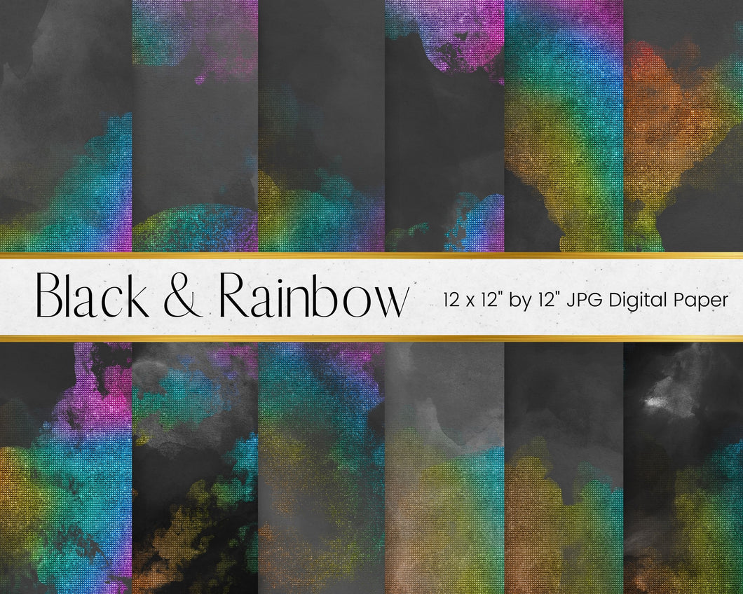 Black Watercolour and Rainbow Mesh Digital Paper