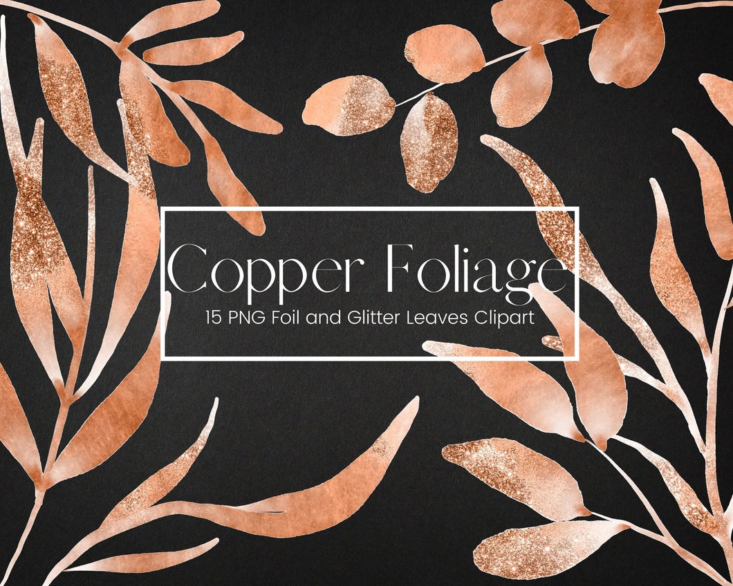 Copper Foil and Glitter Leaves Clipart