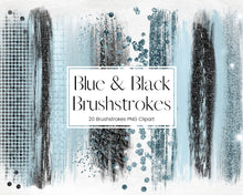 Load image into Gallery viewer, Blue and Black Glitter and Foil Brushstroke Clipart