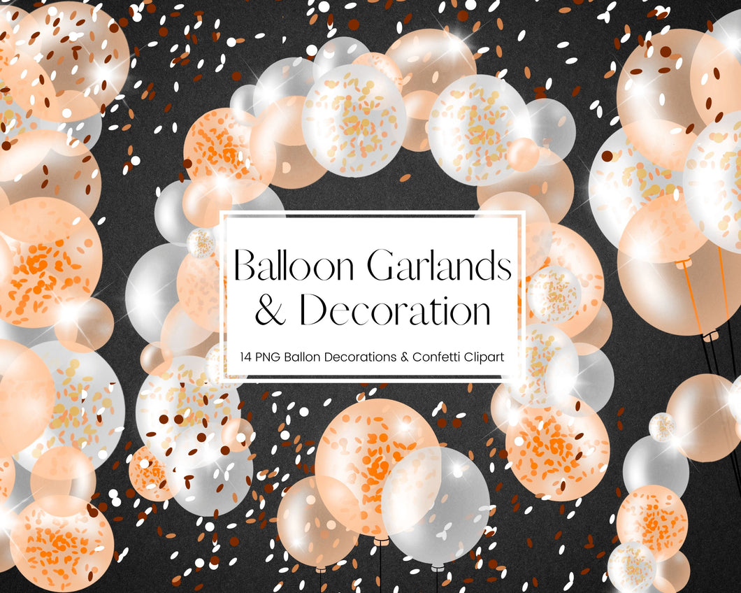 Orange Confetti Balloon Garland Clipart