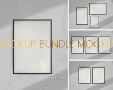 Load image into Gallery viewer, 4 Mockup Black Frames Bundle with Shadow
