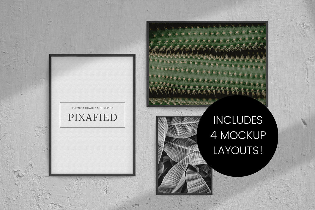 4 Mockup Black Frames Bundle with Shadow