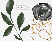 Load image into Gallery viewer, Black and Grey Watercolour Flower Clipart