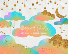 Load image into Gallery viewer, Rainbow Watercolour Clouds Clipart