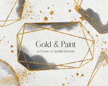 Load image into Gallery viewer, Gold Glitter and Black Watercolour Frame Clipart