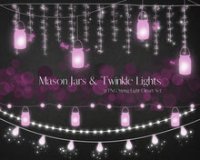 Load image into Gallery viewer, Pink Mason Jars String lights clipart