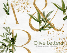 Load image into Gallery viewer, Gold Monogram Clipart with Olive Leaves