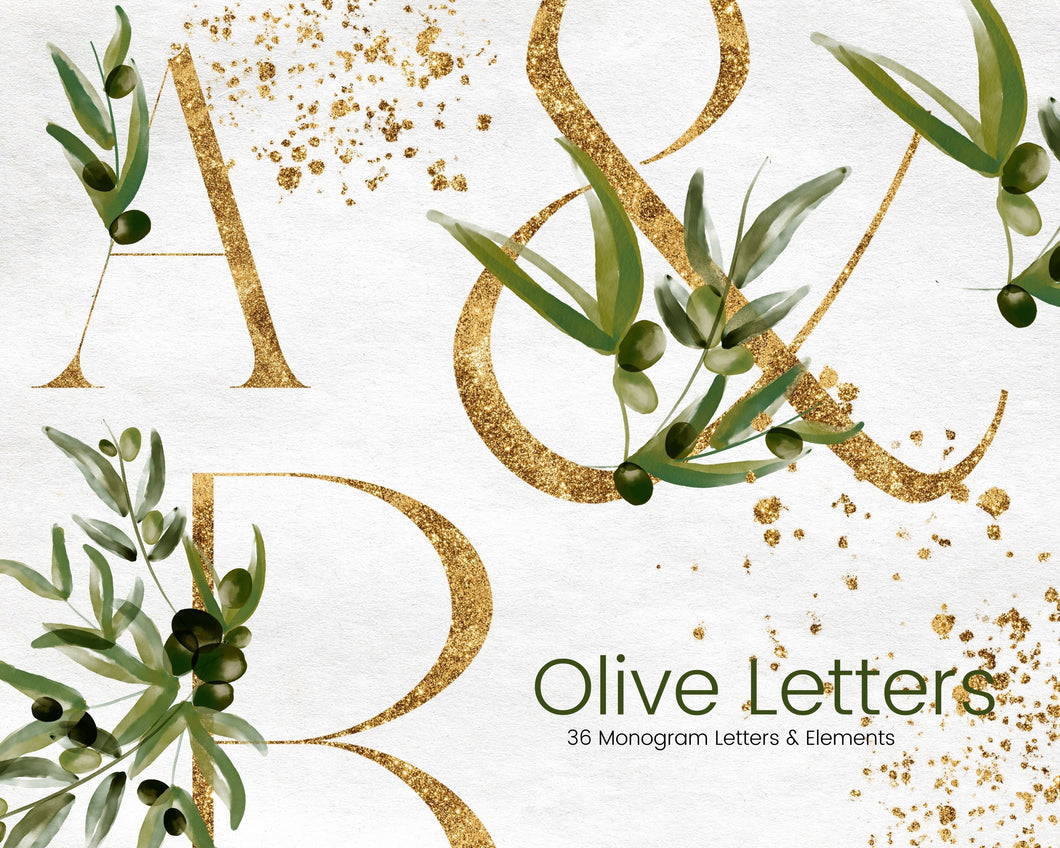 Gold Monogram Clipart with Olive Leaves