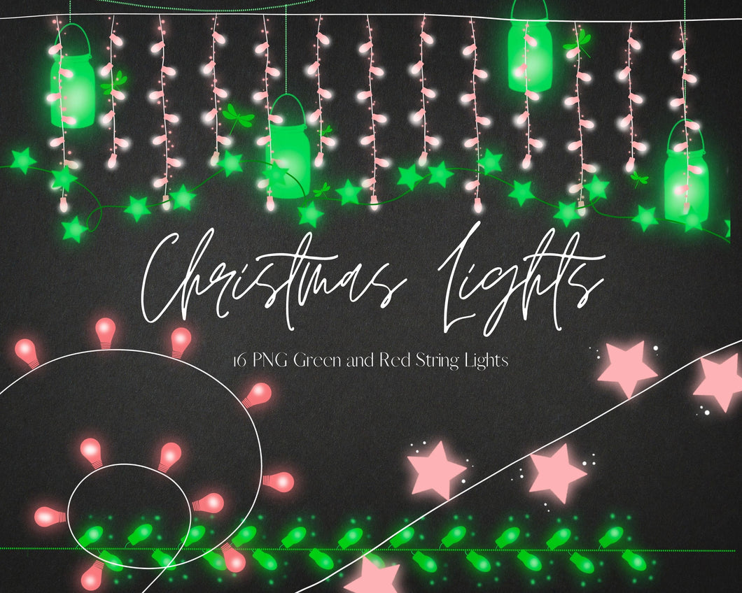 16 Christmas Mason Jars String Lights Clipart