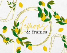 Load image into Gallery viewer, Gold Glitter Geo Lemon Frames Clipart