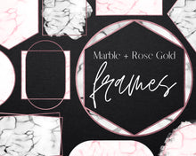 Load image into Gallery viewer, Rose Gold Marble Frame Clipart