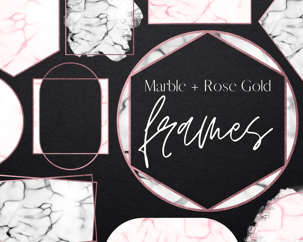 Rose Gold Marble Frame Clipart