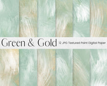 Load image into Gallery viewer, Green and Gold Paint Pattern Digital Paper