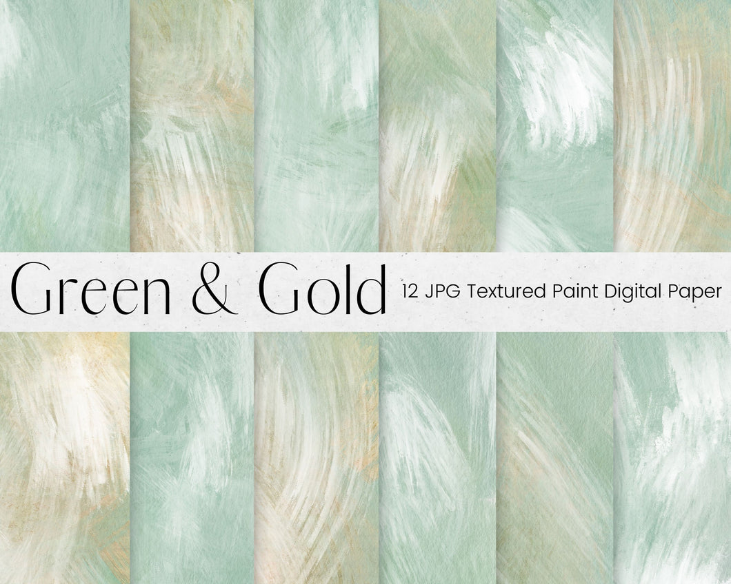 Green and Gold Paint Pattern Digital Paper