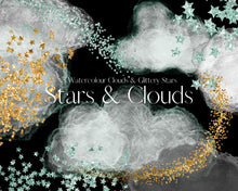Load image into Gallery viewer, Green Watercolour Clouds and Glitter Stars Clipart