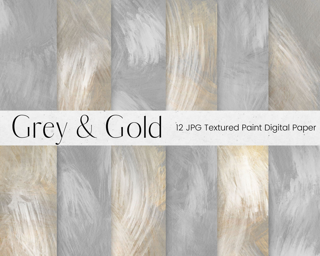 Grey and Gold Paint Pattern Digital Paper