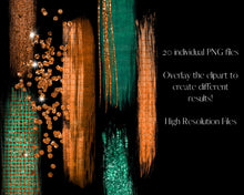 Load image into Gallery viewer, Sparkling Copper and Green Glitter Brushstrokes