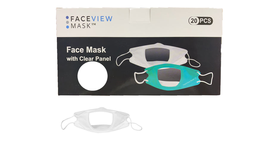Box of white masks with mask in front