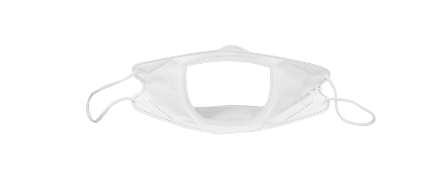 White mask with clear window