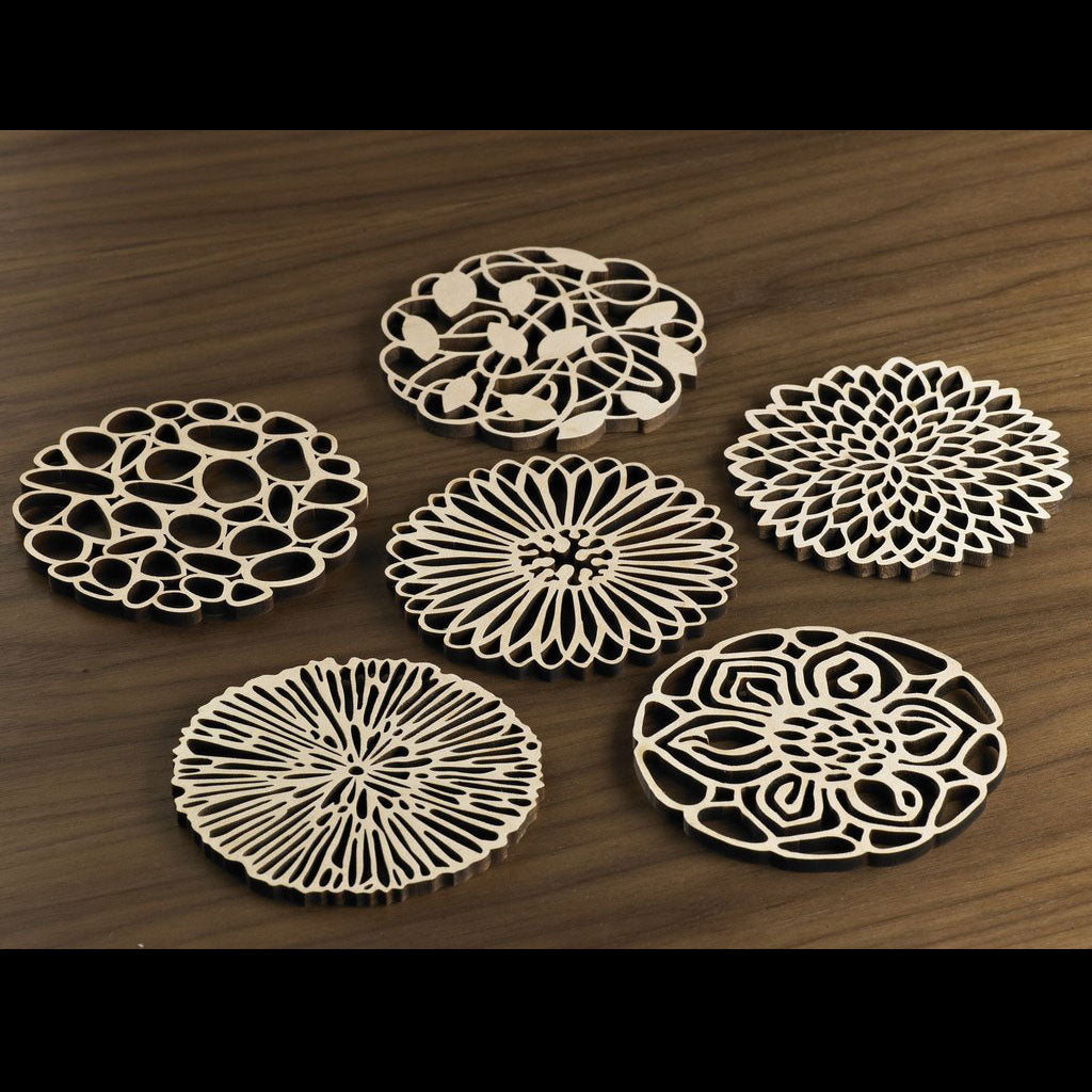 Hardwood Graphic Coasters - Garden Party