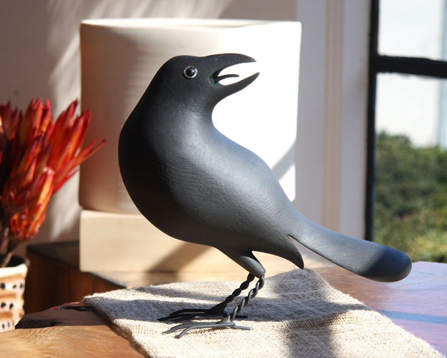 Crow Looking Back Wood Carving
