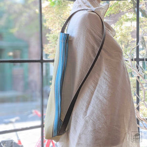 Striped Market Tote/Backpack - Citrus + Blue
