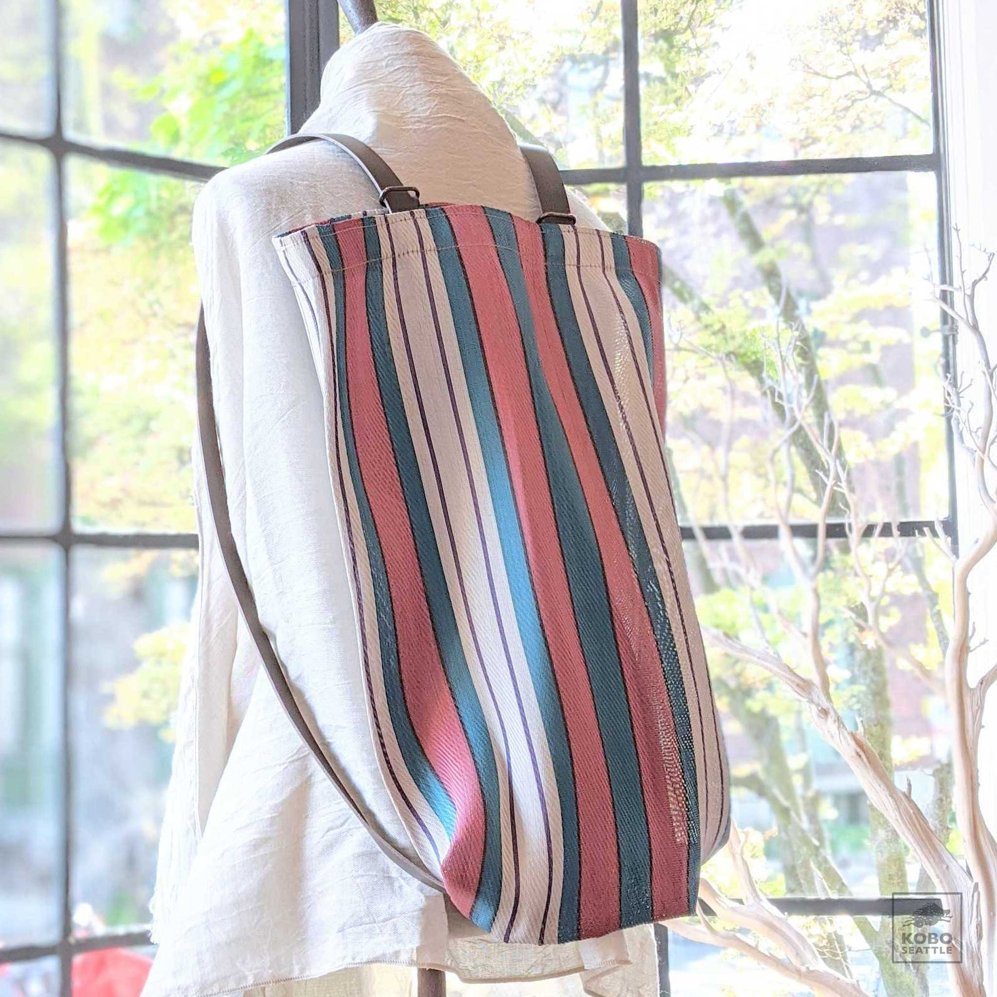 Striped Market Tote/Backpack - Blue + Red + White