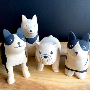 Hand Crafted Wood Figures: Boston Terrier, Bulldog, Corgi, Akita