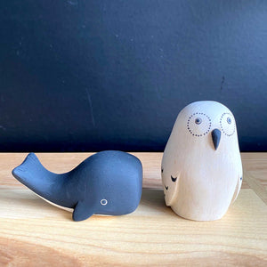 Hand Crafted Wood Figures: Owl, Whale