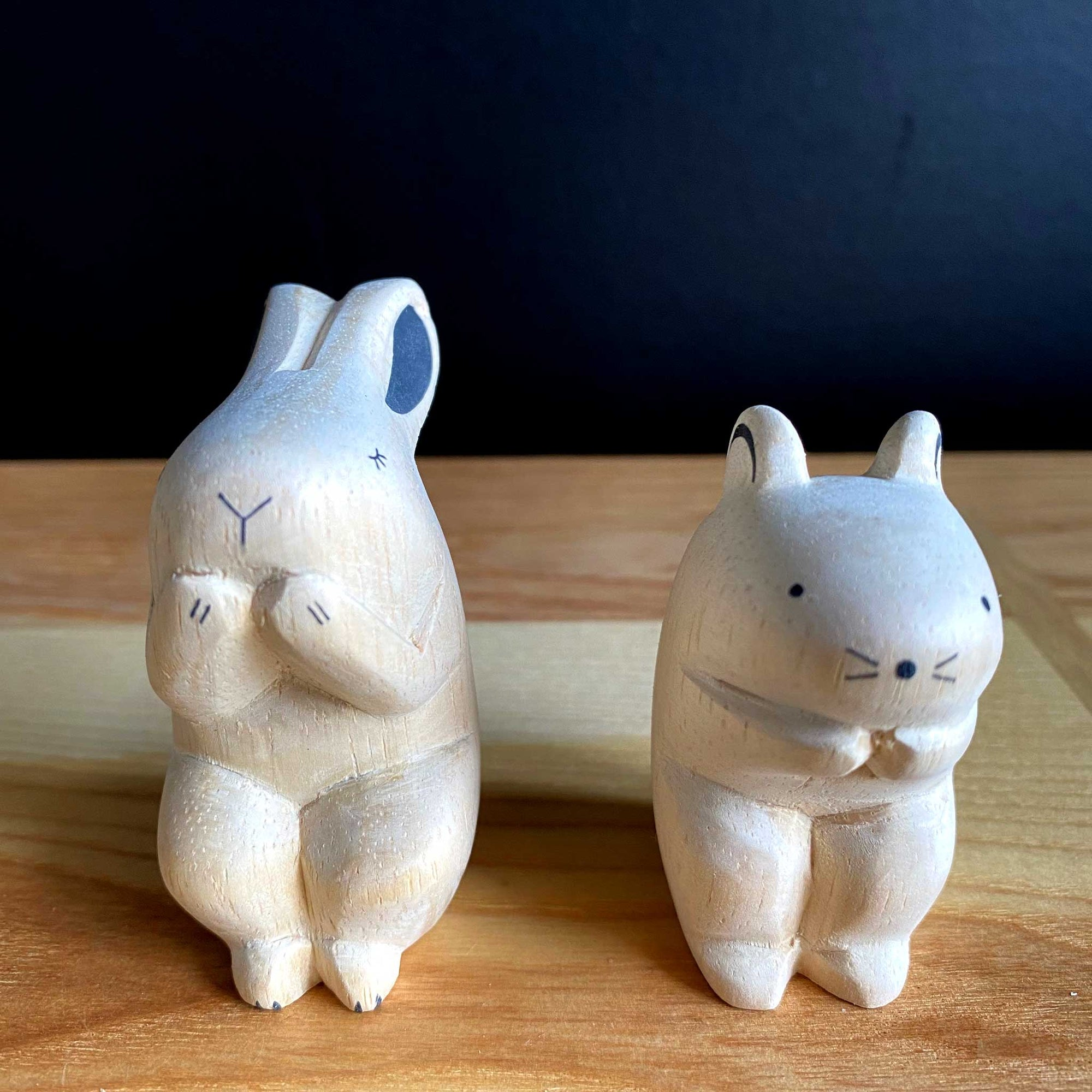 Hand Crafted Wood Figures: Rabbit, Mouse