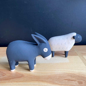 Hand Crafted Wood Figures: Donkey, Sheep
