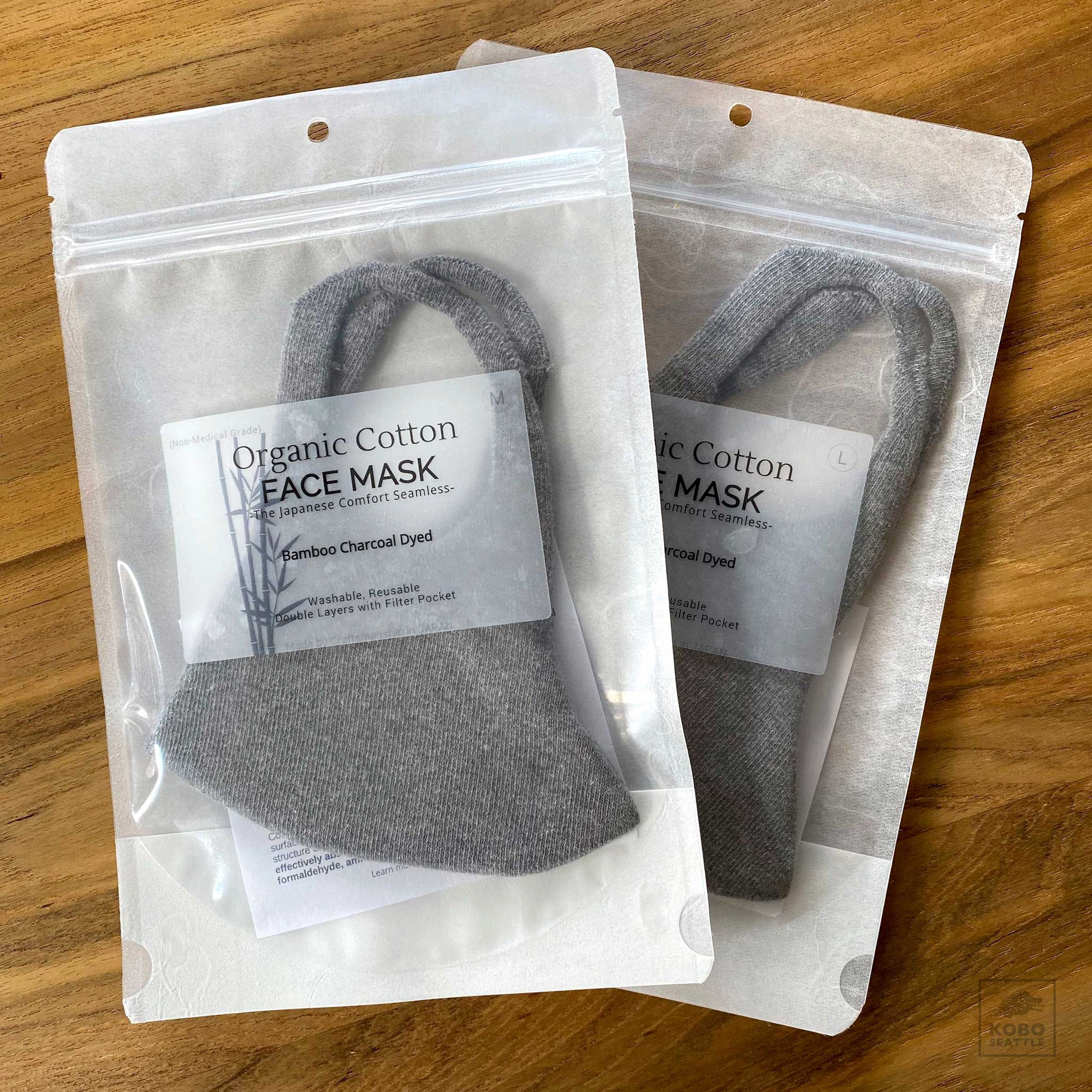 Organic Cotton Face Mask - bamboo charcoal dyed