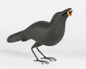 Crow with Ring Wood Carving