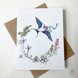 NW Native Plants & Swallow Card by Flora and Earth