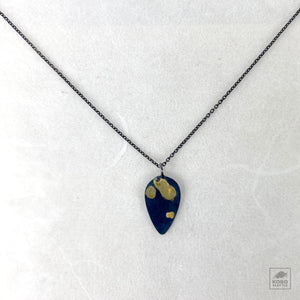 OXS Teardrop Tag Necklace with Gold leaf