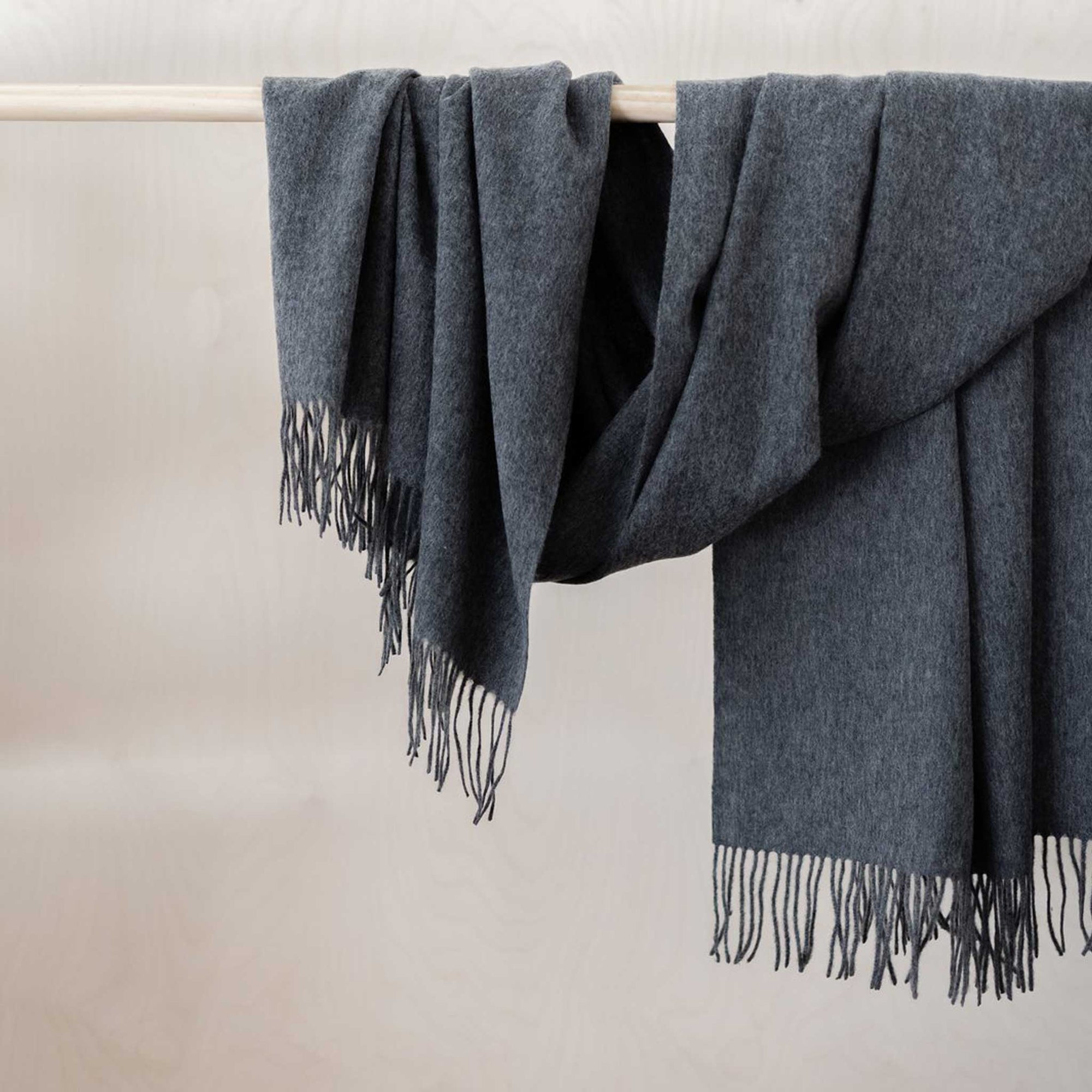 Lambswool Blanket / Scarf - Dark Grey