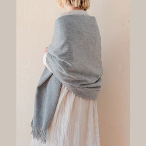 Lambswool Blanket / Scarf - Light Grey