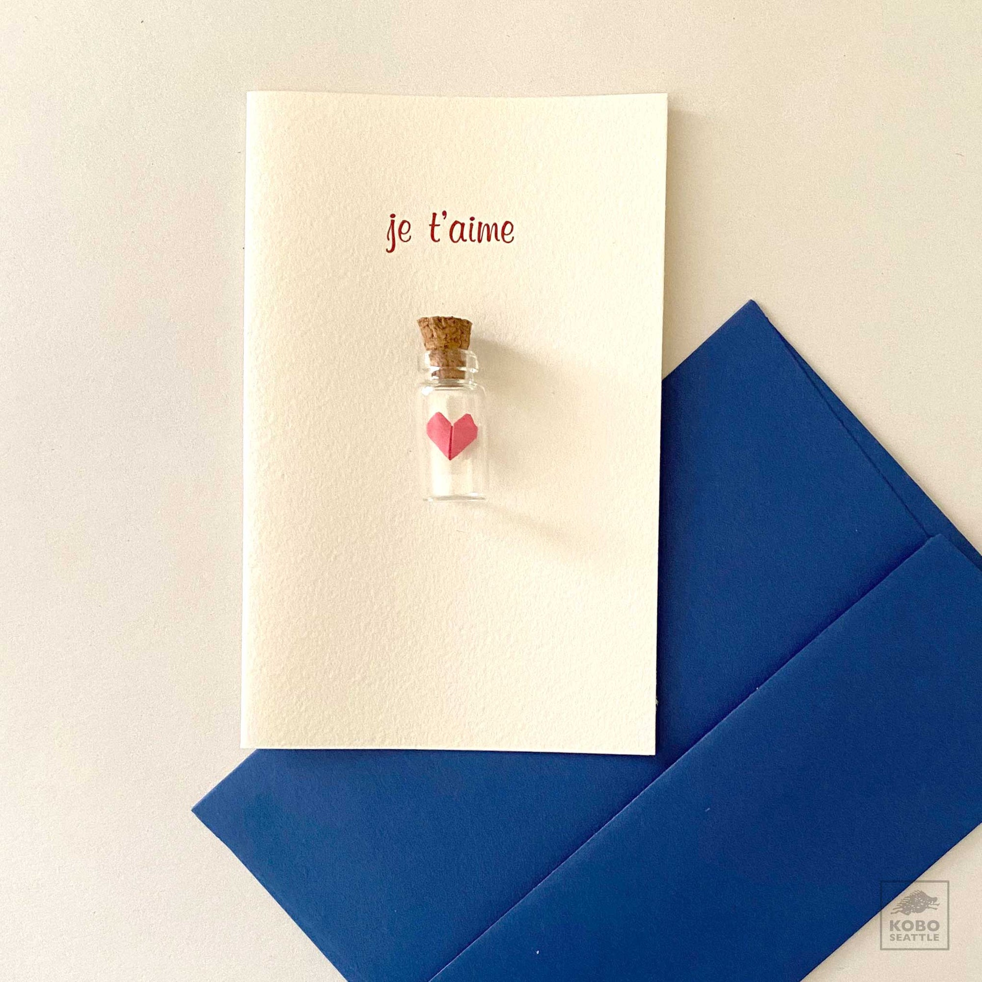 Je t'aime & origami heart-in-a-bottle card